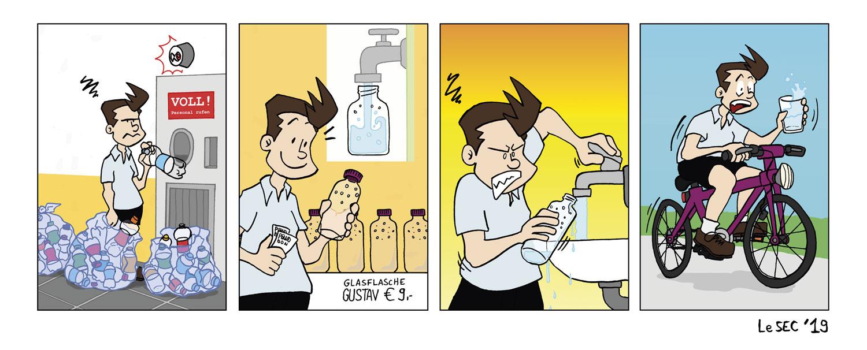 Purpur-Comic über Glasflaschen