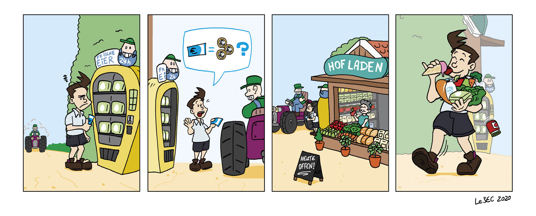 Purpur-Comic über Frischeautomaten