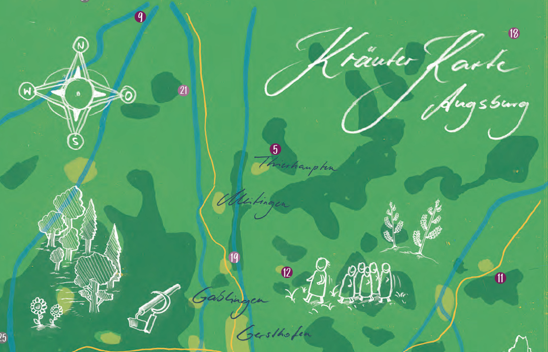 Ausschnitt einer illustrierten Übersichtskarte für Kräuter