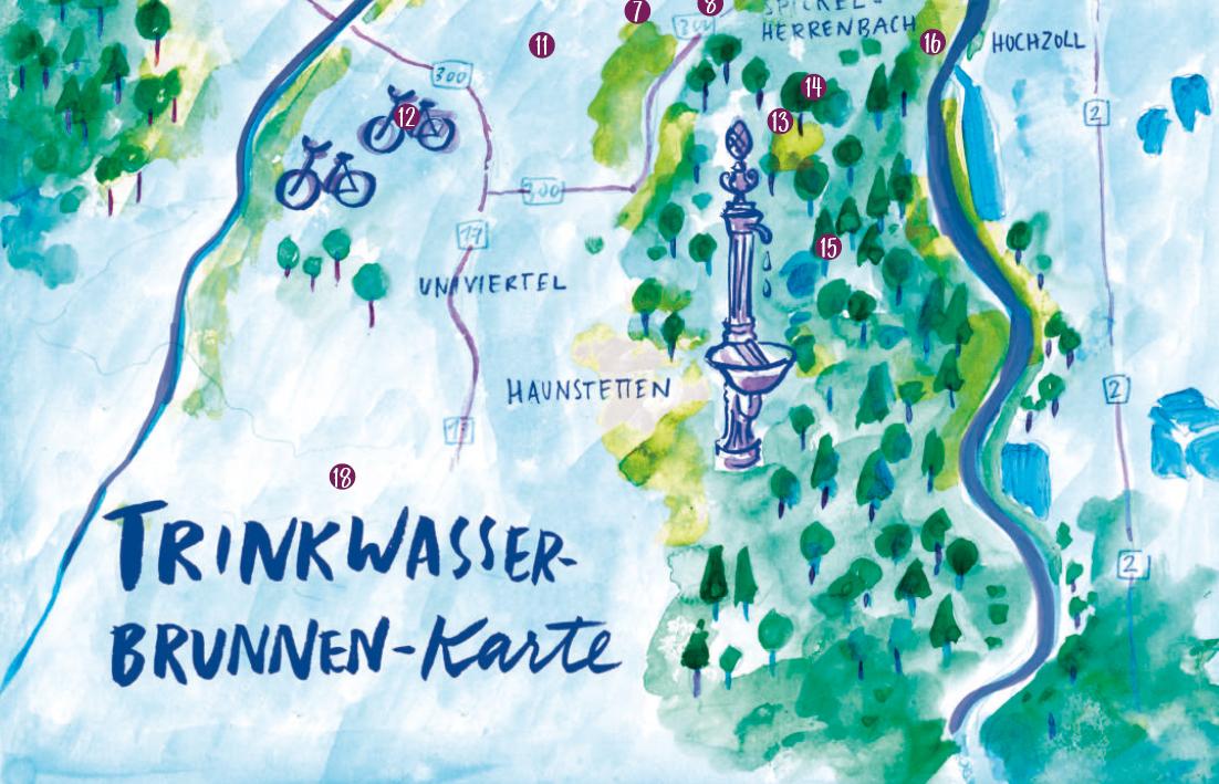 Ausschnitt einer illustrierten Überblickskarte für Trinkwasserbrunnen in Augsburg