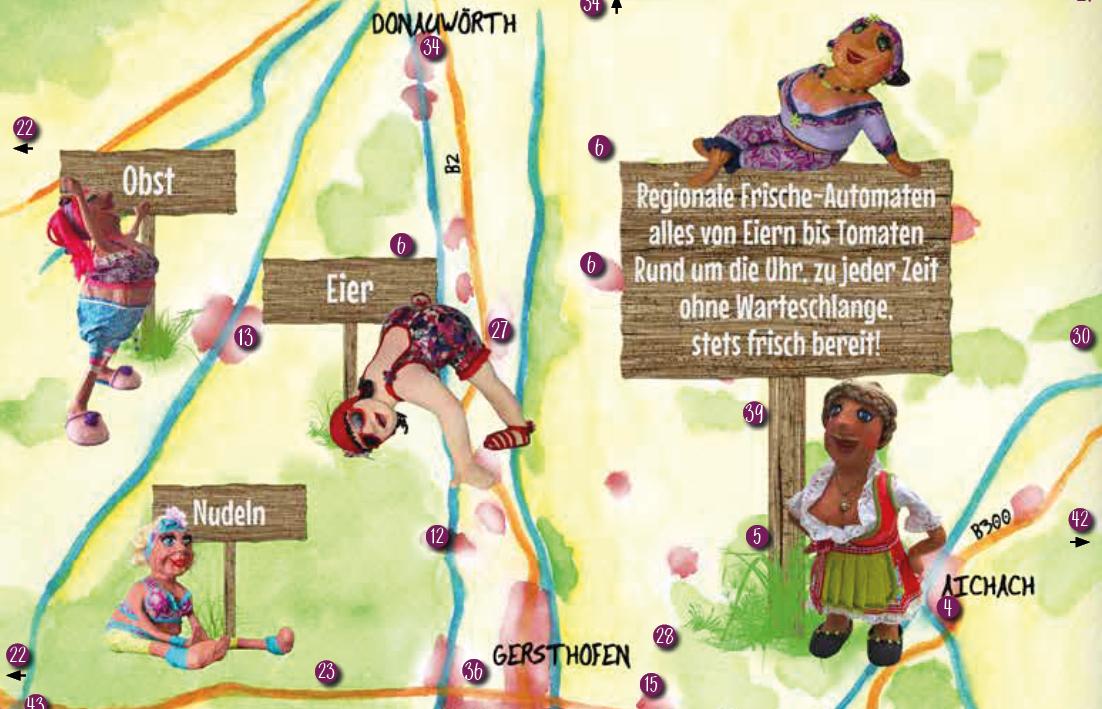 Ausschnitt einer illustrierten Karte mit Puppen