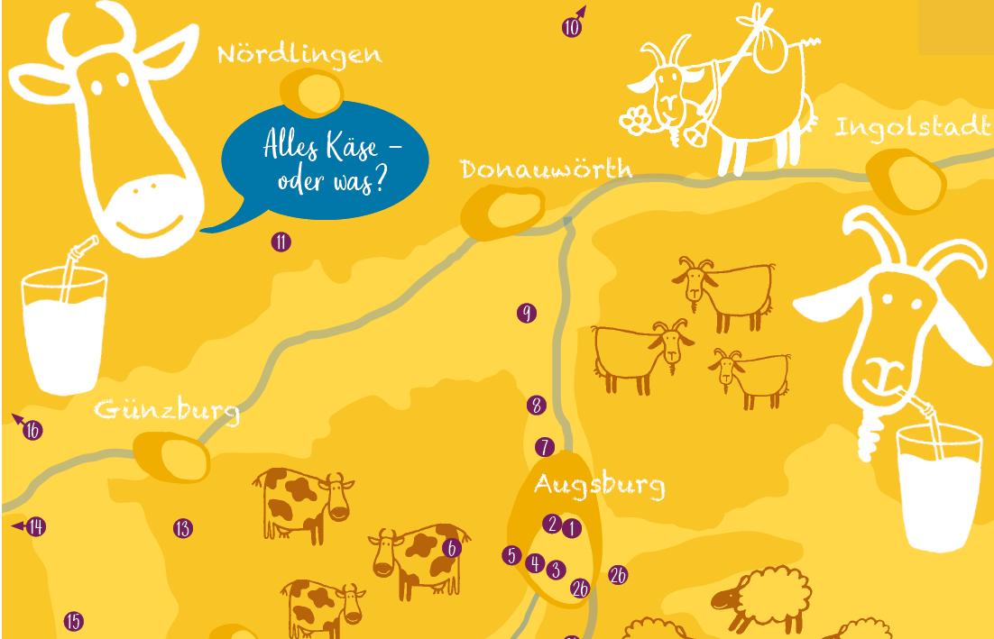 Ausschnitt einer grafischen Überblickskarte für Milchprodukte