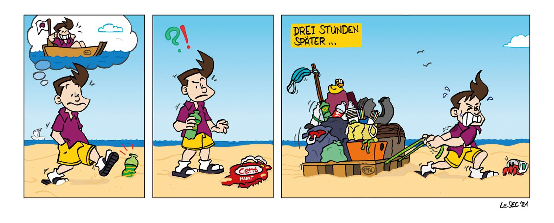 Purpur-Comic über Vermüllung