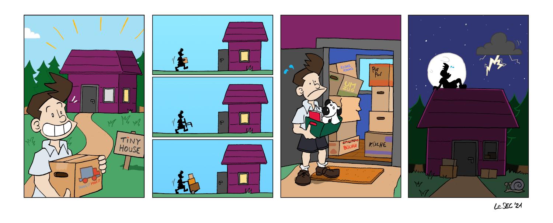 Purpur-Comic über Tiny House