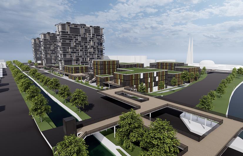 3D-Grafik vom Schwabencenter in Augsburg mit ökologischen Verbesserungen