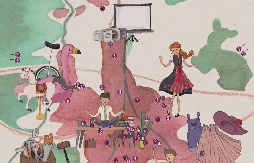 Illustration Überblickskarte über Sachen zum Leihen in Augsburg